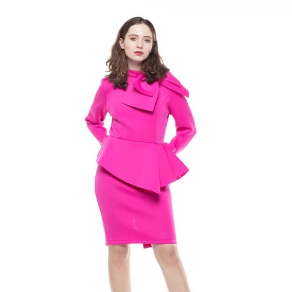 👛Plus Size Hot Pink Elegant Peplum Dress👛 Boutique